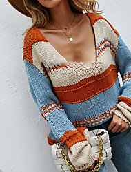 cheap -Women's Sweater Knitted Color Block Stylish Long Sleeve Sweater Cardigans V Neck Fall Orange