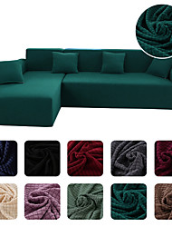 cheap -High Quality Solid Fluffy Thickened Dustproof All-powerful Slipcovers Stretch Sofa Cover Super Soft Fabric Couch Cover With One Free Pillow Case Chair/Love Seat/3 Seats/4 Seats