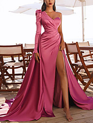 cheap -A-Line Elegant Vintage Party Wear Prom Dress One Shoulder Long Sleeve Court Train Satin with Ruched Split 2021