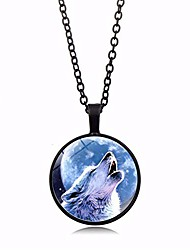 cheap -time gemstone wolf head necklace pendant round glass wolf animal choker necklace for women men fashion sweater chain jewelry gifts(black)