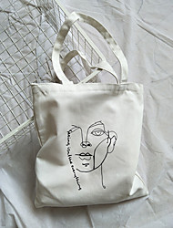cheap -Canvas Shoulder storage bag back to school Halloween goody bag portrait sketch  portable grocery shopping cloth book tote   34*39 cm