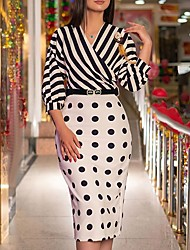 cheap -Women's Sheath Dress Knee Length Dress Black includes belt Black 3/4 Length Sleeve Polka Dot Striped Print Fall Spring V Neck Business Vintage Fine Stripe S M L XL XXL