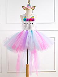 cheap -Princess Fairytale Unicorn Dress Cosplay Costume Party Costume Girls' Movie Cosplay Tutus Plaited White Dress Headwear Christmas Halloween Children's Day Polyester
