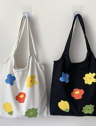 cheap -Canvas Shoulder storage bag back to school Halloween goody bag white black colorful flowers  portable grocery shopping cloth book tote   34*39/37*36 cm