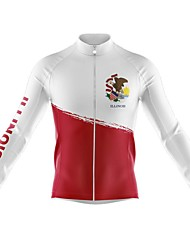 cheap -21Grams Men's Long Sleeve Cycling Jersey Spandex Polyester Red and White Color Block American / USA Funny Bike Top Mountain Bike MTB Road Bike Cycling Quick Dry Moisture Wicking Breathable Sports
