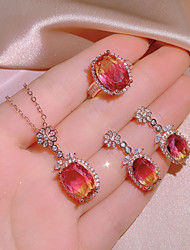 cheap -Women's Multicolor Cubic Zirconia Jewelry Set Bridal Jewelry Sets Fancy Floral Theme Stylish Luxury European Sweet 18K Gold Plated Earrings Jewelry Rose Gold For Wedding Party Evening Gift Festival 1