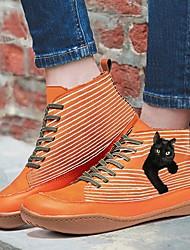 cheap -Women's Boots Flat Heel Round Toe PU Animal Patterned Yellow Red Blue