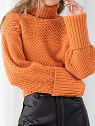 cheap -Women's Sweater Knitted Solid Color Stylish Long Sleeve Sweater Cardigans Turtleneck Fall Winter Orange