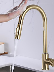 cheap -Kitchen faucet - Single Handle One Hole Stainless Steel / Brushed Gold Pull-out / Pull-down / Standard Spout Centerset Contemporary Kitchen Taps
