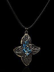cheap -Women's Blue AAA Cubic Zirconia Pendant Necklace Monogram Floral / Botanicals Elegant Rustic Vintage European Brass Black 50 cm Necklace Jewelry 1pc For Halloween Street Masquerade Festival