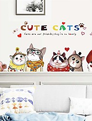 cheap -cute cats decals cartoon cat sticker peel and stick poster mural diy removable wall art decal mural wallpaper home decoration for living room, bedroom, farmhouse, bathroom decor
