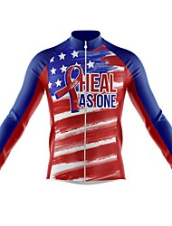 cheap -21Grams Men's Long Sleeve Cycling Jersey Spandex Polyester Red American / USA Funny Bike Top Mountain Bike MTB Road Bike Cycling Quick Dry Moisture Wicking Breathable Sports Clothing Apparel