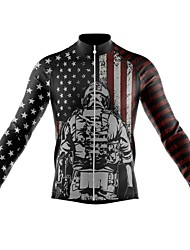cheap -21Grams Men's Long Sleeve Cycling Jersey Spandex Polyester Black American / USA Funny Bike Top Mountain Bike MTB Road Bike Cycling Quick Dry Moisture Wicking Breathable Sports Clothing Apparel