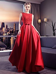 cheap -Ball Gown Wedding Dresses Jewel Neck Floor Length Spandex Sleeveless Vintage with Lace Bow(s) 2021