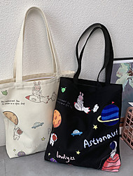 cheap -Canvas Shoulder storage bag back to school Halloween goody bag white  black astronaut portable grocery shopping cloth book tote   34*39 cm