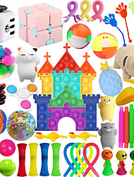 cheap -54Pcs  Popping Game Sensory Popper Fidget Bubble Toy Pop Push it Pack10 Piece Educational Colorful Brain Training Tangram Puzzle Building Pattern Blocks SetStress Relief  Gift for Kids Girl Boy Adults