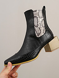 cheap -Women's Boots Cuban Heel Pointed Toe Booties Ankle Boots Daily PU Color Block Snake White Black Brown / Booties / Ankle Boots