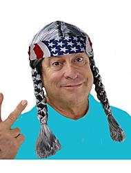 preiswerte -wowboy perücke geflochtene hippie perücke graue willie kostüm perücke hippie perücke kostüm willie kostüm perücke land cowgirl cowboy willy perücke herren hippie perücke mit zöpfen und einer