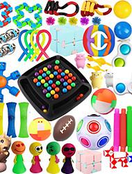 cheap -54 Pcs Sensory Fidget Toys PackStress & Anxiety Relief Tools Bundle Figetget Toys Set for Kids AdultsAutistic ADHD ToysStress Balls Fidget Spinner Marble Mesh Puzzle Ball Pop Tube Fidget Box