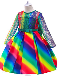 cheap -Kids Little Girls' Dress Rainbow Skater Dress Daily Holiday Date Ruched Lace Hole Apple Green Purple Blushing Pink Midi Long Sleeve Princess Cute Sweet Dresses Children's Day Fall Winter Regular Fit