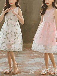 cheap -kids dress girl lace flower embroidery princess for girls sleeveless party summer cute teenage clothes 210810