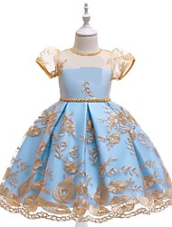 cheap -Ball Gown Knee Length Flower Girl Dresses Party Lace Short Sleeve Jewel Neck with Embroidery / Formal Evening