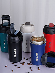 cheap -Stainless Steel Vacuum Flask Travel Coffee Flask with a Lid One Cover for Dual Use Modern Drinking Cup Business Coffee Cup with Straw 400ml 13.5oz 5 Colors