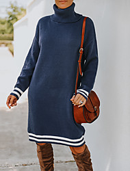 cheap -Women's Sweater Jumper Dress Knee Length Dress Sapphire New products in stock for autumn and winter are already on Black Apricot Long Sleeve Stripes Classic Style Fall Winter High Neck Basic Casual