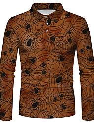 cheap -Men's Golf Shirt 3D Print Spider Spider web 3D Print Button-Down Long Sleeve Halloween Tops Sportswear Casual Fashion Comfortable Yellow