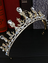 cheap -Bridal Headdress Wedding Dress Styling Accessories Handmade Beaded Princess Crown Tiara Queen Crown