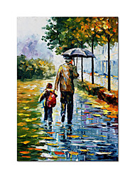 cheap -Oil Painting Handmade Hand Painted Wall Art Palette Knife Figure Portrait Father And Son After School Parent-Child Landscape Home Decoration Decor Rolled Canvas No Frame Unstretched