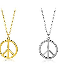cheap -peace sign necklace hippie style love peace sign hippie pendant necklace hippie party dressing accessories 1960s 1970s jewelry for women men-2pcs