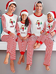 cheap -Christmas Pajamas Family Look Striped Elf Letter Dailywear Wide Leg Red Long Sleeve Active Matching Outfits / Fall / Winter / Casual / Print
