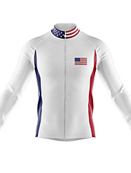 cheap -21Grams Men's Long Sleeve Cycling Jersey Spandex White American / USA National Flag Bike Top Mountain Bike MTB Road Bike Cycling Quick Dry Moisture Wicking Sports Clothing Apparel / Athleisure