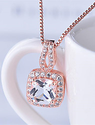 cheap -Pendant Necklace Necklace Women's Classic Cubic Zirconia Rose Gold Plated Simple Fashion Classic Casual / Sporty Sweet Cute Dark Red Purple Dark Green Blue White 45 cm Necklace Jewelry 1pc for Street