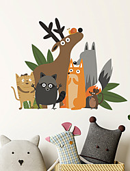 cheap -Animals Cartoon Wall Stickers Living Room Kids Room Kindergarten Removable Pre-pasted PVC Home Decoration Wall Decal 1pc