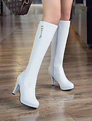 cheap -Women's Boots Chunky Heel Round Toe Crotch High Boots Wedding Office PU Imitation Pearl Solid Colored White / Mid-Calf Boots