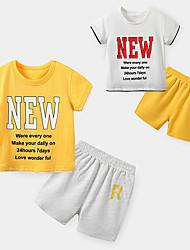 cheap -Kid's Boys' T-shirt & Shorts 2 Pieces Short Sleeve Yellow White Texture R Cotton Basic Chic & Modern