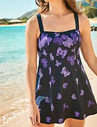cheap -Women's One Piece Swim Dress Swimsuit Open Back Print Animal Purple Swimwear Strap Bathing Suits New Casual Vacation