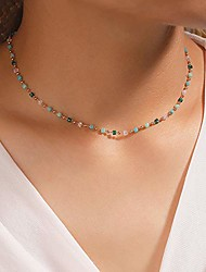 cheap -asphire bohemian beaded choker necklace dainty green cubic crystal necklace boho summer beach jewelry prom party festival gift for women teens girls