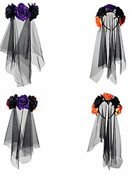 cheap -Halloween Witch Headband Rose Flower Veil Ghost Holiday Party Head Buckle Undead Dress up Hair Accessories