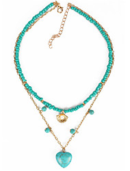 cheap -jewelry a love heart pendant short necklace choker rice beads turquoise necklace women
