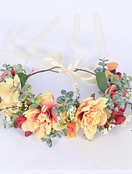 cheap -Color Garland Corolla Forest Simulation Waterweed Headdress Bride Wedding Photography Studio Photo Gift Hair Accessories