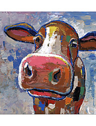 cheap -Oil Painting Handmade Hand Painted Wall Art Square Modern Cartoon Cute Cow Animal Picture Home Decoration Decor Rolled Canvas No Frame Unstretched