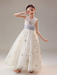 cheap -Princess Floor Length Flower Girl Dresses Holiday Polyester Sleeveless Jewel Neck with Appliques