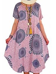 cheap -Women's Plus Size Dress Sheath Dress Knee Length Dress Short Sleeve Pattern Casual Spring Summer Blue Yellow Blushing Pink L XL XXL XXXL 4XL