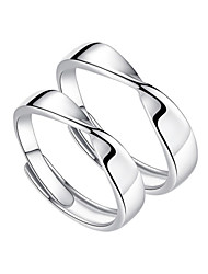 cheap -Couple Rings Geometrical Silver S925 Sterling Silver Stylish Simple Unique Design 2pcs Adjustable / Couple's / Adjustable Ring
