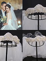 cheap -Bridal Wedding Accessories Hand-beaded Curvy Crown Headband Veil Wedding Crown Jewelry