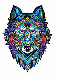 cheap -colorful wolf head wall decal art stickers, peel and stick removable multicolor animal wolf head with animals plants puzzle jigsaw wall print pictures for living room office