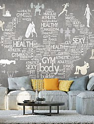 cheap -Mural Wallpaper Wall Sticker Covering Print Peel and Stick Self Adhesive Work OutFitness Wall Covering Hotel PVC / Vinyl  Home Decor